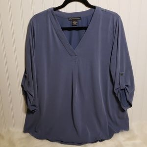 Adrianna Papell 3/4 Sleeve Pullover V-neck Top